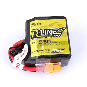 TATTU 1550mAh 4S 14.8V 95C Lipo Battery - R-Line Square